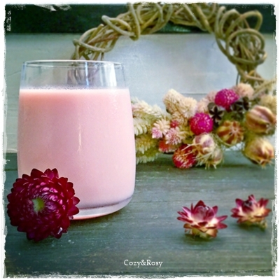 牛乳のグレナデンシロップ割